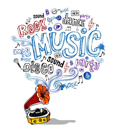 Retro gramophone and musical symbols Vector