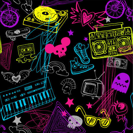 Black seamless music background. Vectores