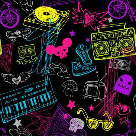 Black seamless music background. Illustration