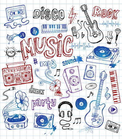 composition art: Music doodles Illustration