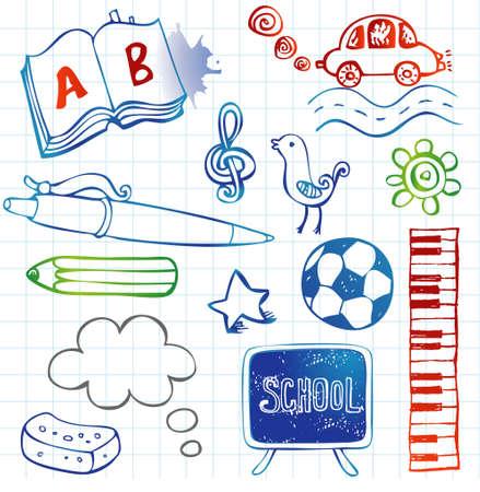 vector school: School doodles, vector set Illustration