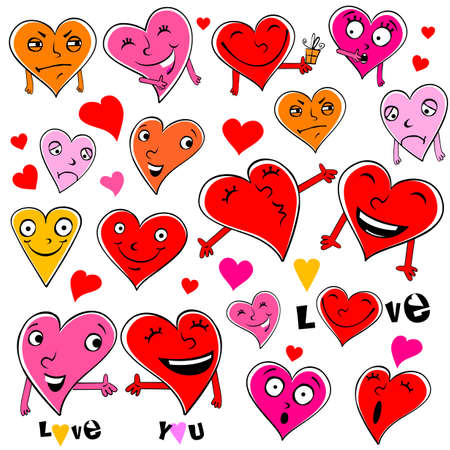 Funny cartoon hearts.