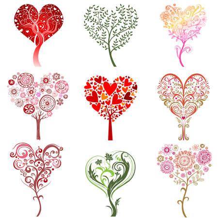 Bomen in de vorm van een hart. Stockfoto - 35643920