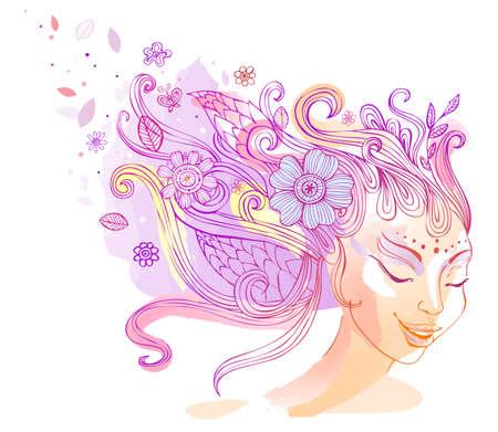 perfil de mujer rostro: Peinado de flores, ilustración vectorial