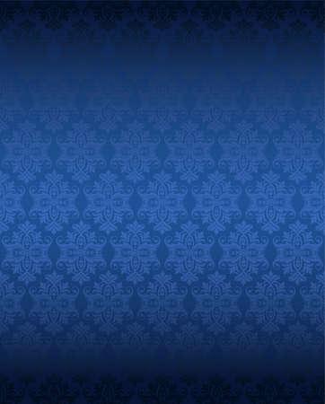 Lusso senza soluzione di continuità blu carta da parati floreale Archivio Fotografico - 35755891