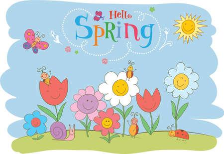 flower fields: Hello Spring cute greeting card.