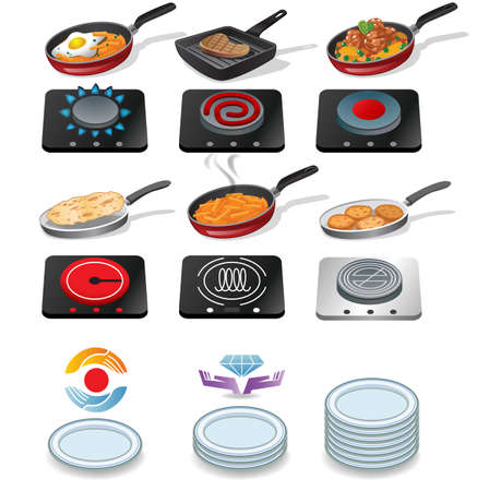 dieting: Cooking icons Illustration