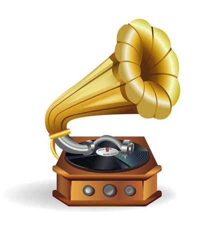 gramophone: Gold vector gramophone