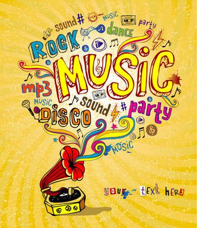 music: Retro gramophone and musical symbols Illustration
