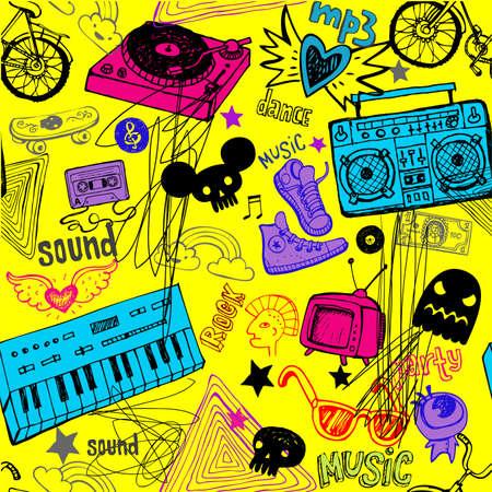 Seamless yellow music background. Vector