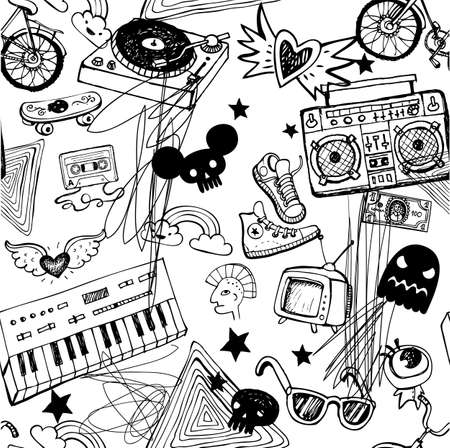 wallpaper doodle: Seamless music background.