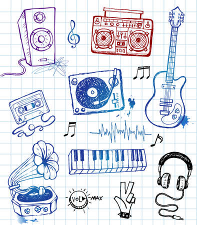 plucking an instrument: Music doodles Illustration