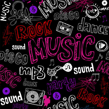 Black seamless music background. Vector
