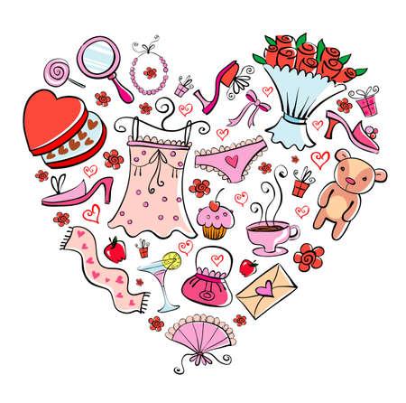 Gift Ideas for girl in heart shape. Vector