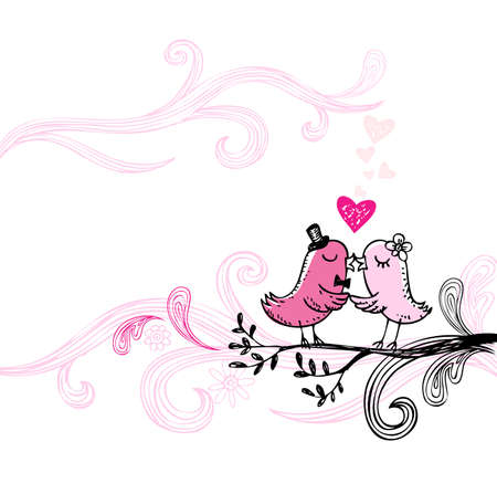 Romantic kissing birds. Vector