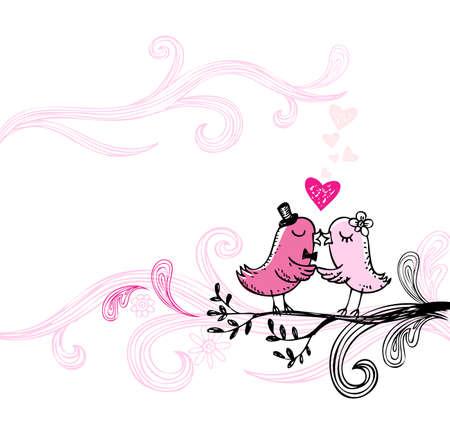 romantic: Romantic kissing birds. Illustration