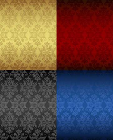 blue carpet: Four Luxury seamless floral patterns Illustration