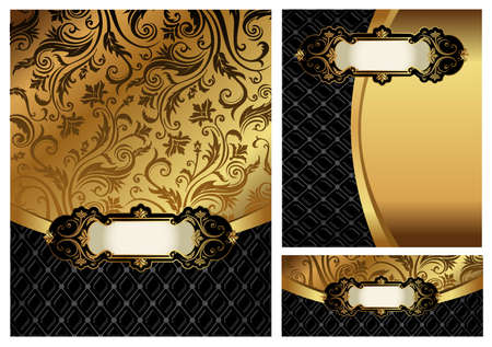 royal background: Ornate golden menu cover, Illustration