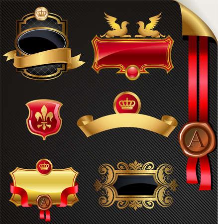 cartouche: Ornate decorative golden vector frames