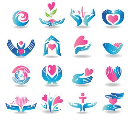 manos logo: Elementos de dise�o de servicios de salud Vectores
