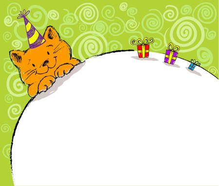 Greeting card with red cat and place for text. Vector