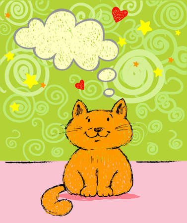 Greeting card with red cat Vector