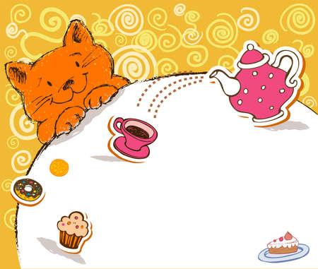 rejoicing: Biglietto di auguri con gatto rosso e luogo per il testo.
