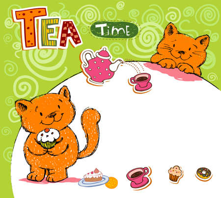 yellow tea pot: Greeting card with red cats