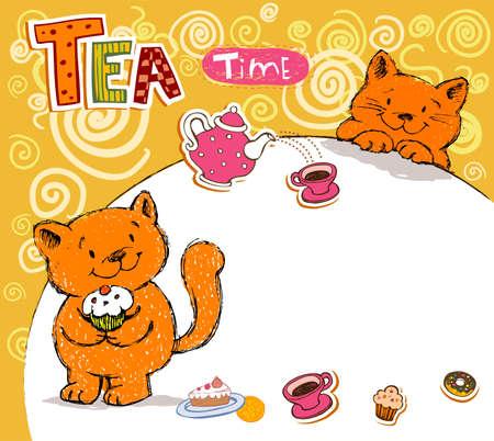 rejoicing: Biglietto di auguri di compleanno con il gatto rosso Vettoriali