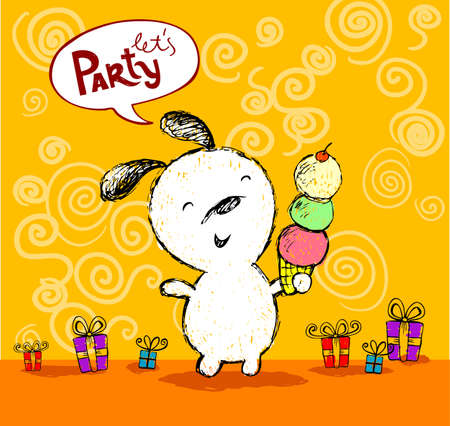 lets party: Birthday greeting Lets Party card with cute puppy
