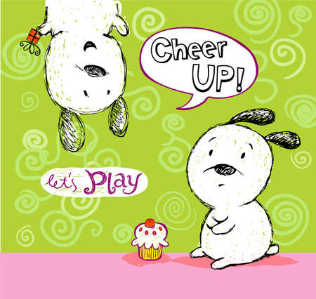 joyfulness: Cheer up card, to friend with cute puppies