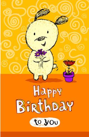 funny birthday: Birthday greeting card with cute puppy
