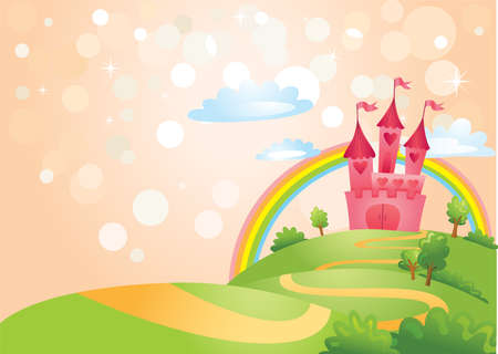 flag background: Fairy Tale castle.