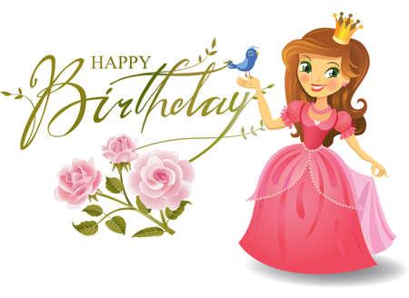 dessin enfants: Joyeux anniversaire, princesse, carte de voeux.