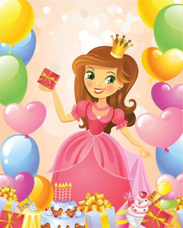 Happy Birthday, Princess, greeting card. Ilustração