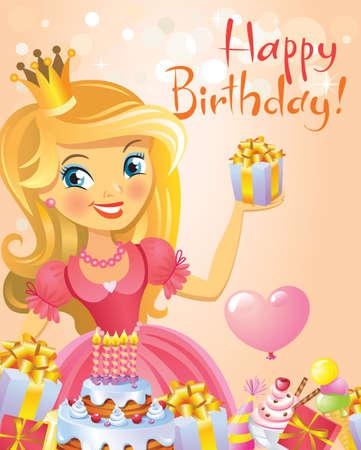 princess: Happy Birthday, Princess, greeting card. Illustration
