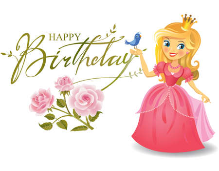 colored balloons: Happy Birthday, Princess, greeting card. Illustration