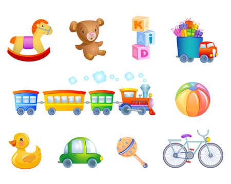 juguetes de madera: Conjunto de 10 juguetes de vectores para el cabrito. Vectores