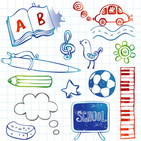 School doodles, vector set Vector
