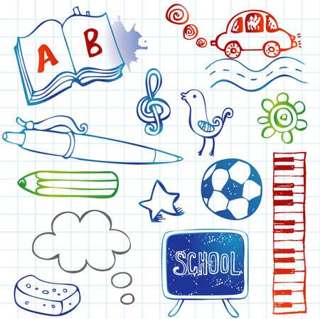 School doodles, vector set Vector