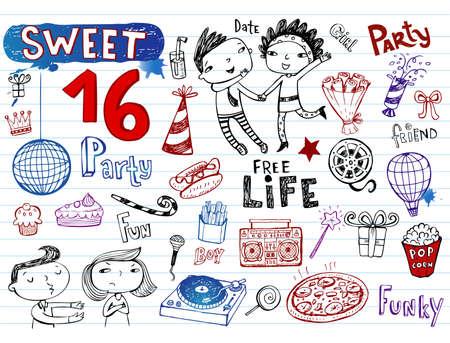 sweet sixteen: Sweet 16 party, doodle set