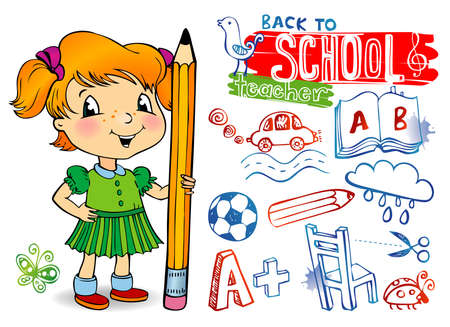Funny doodles - Back to school. Vector