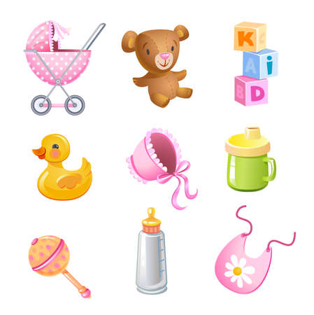 bib: Vector toys and accessories Illustration