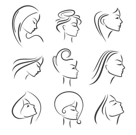 perfil de mujer rostro: Retrato de las muchachas - silueta del vector icono, monocromático Vectores