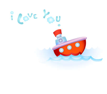 parting the sea: Steamship in love Illustration