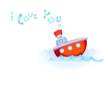 Steamship in love Illustration