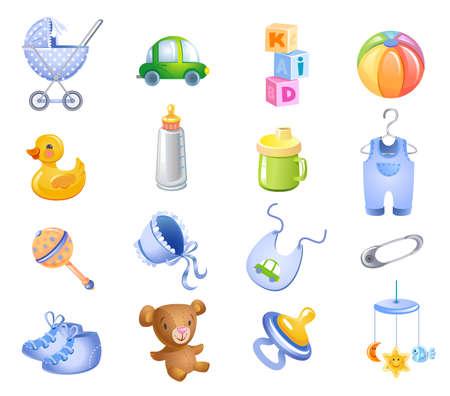 Juguetes y accesorios para el bebé.