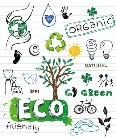 contaminacion ambiental: Eco Doodles amistosas