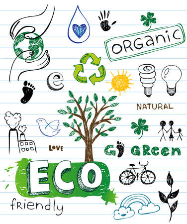go green icons: Eco friendly Doodles