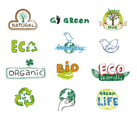 go green icons: Eco design elements Illustration